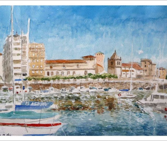 Acuarela del puerto de Gijón, Asturias.