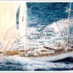 Cuadro en acuarela de un velero navegando