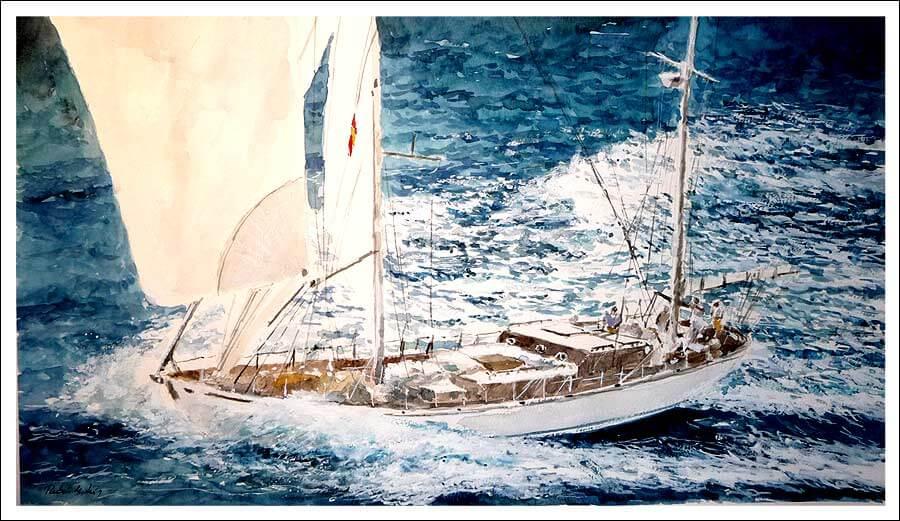 Cuadro en acuarela de un velero en alta mar