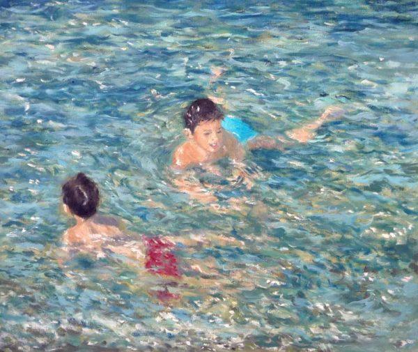 Cuadro al oleo de unos niños buscando peces en el mar
