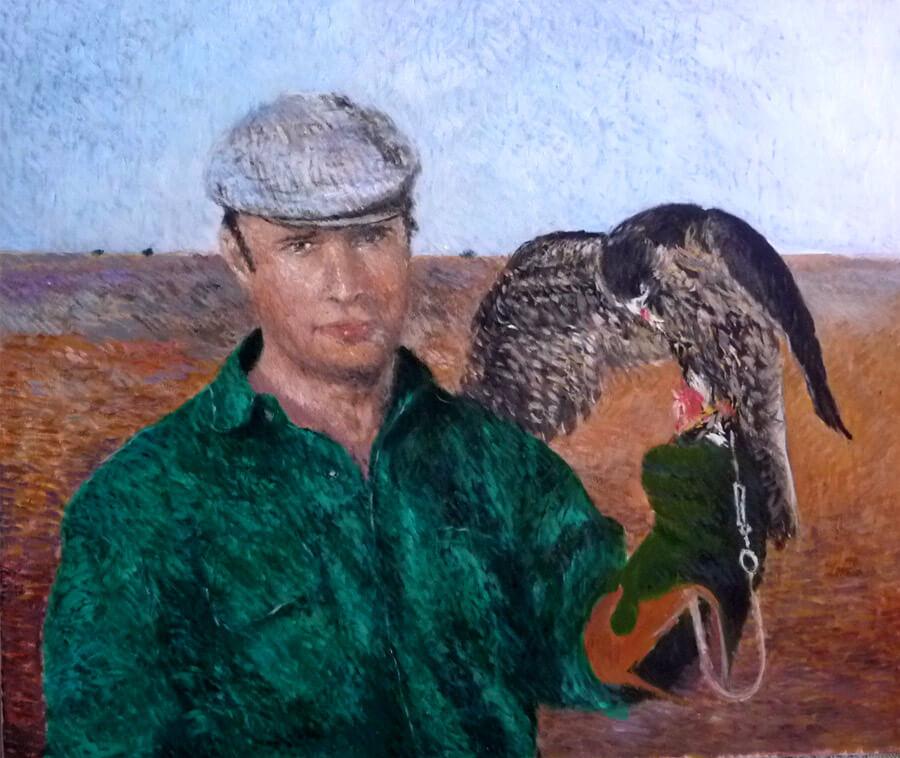 Retrato al óleo pintado por encargo de de una figura con halcón