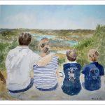 Retrato de una familia frente a un paisaje