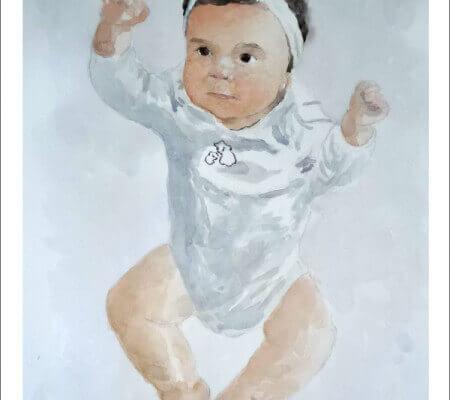 Retrato de un bebé en acuarela