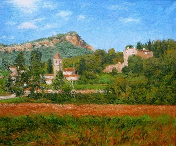 Cuadro al oleo de un paisaje de Sant Aniol de Finestres en la Garrotxa, Gerona