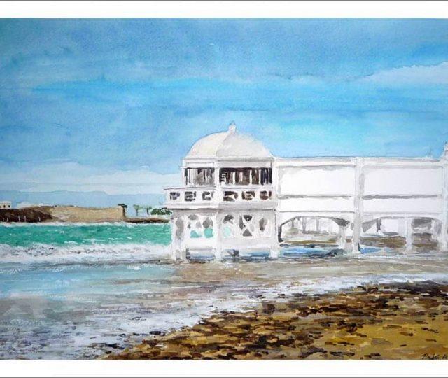 Acuarela de la playa de La Caleta, Cádiz