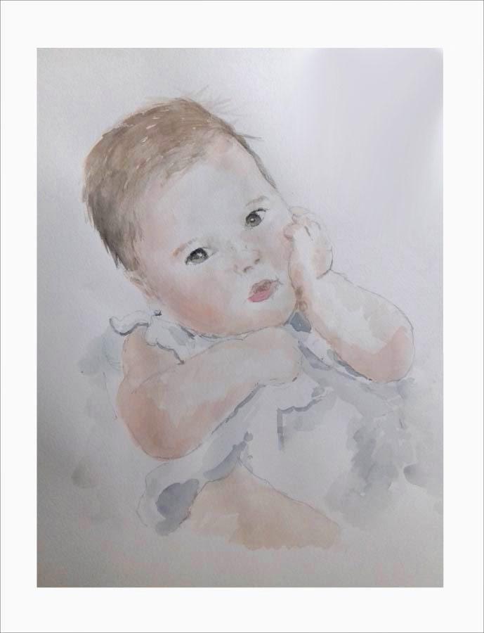 Retrato en acuarela de un bebe