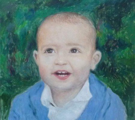 Retrato al oleo de un bebé realizado pro encargo