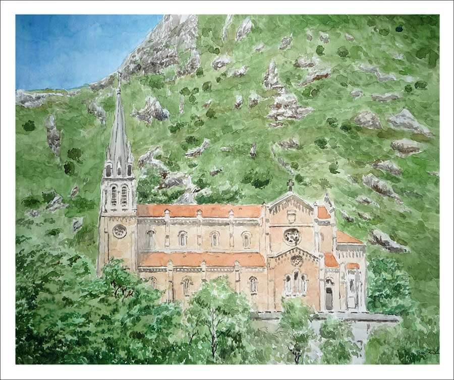Acuarela de la Basílica de Covadonga