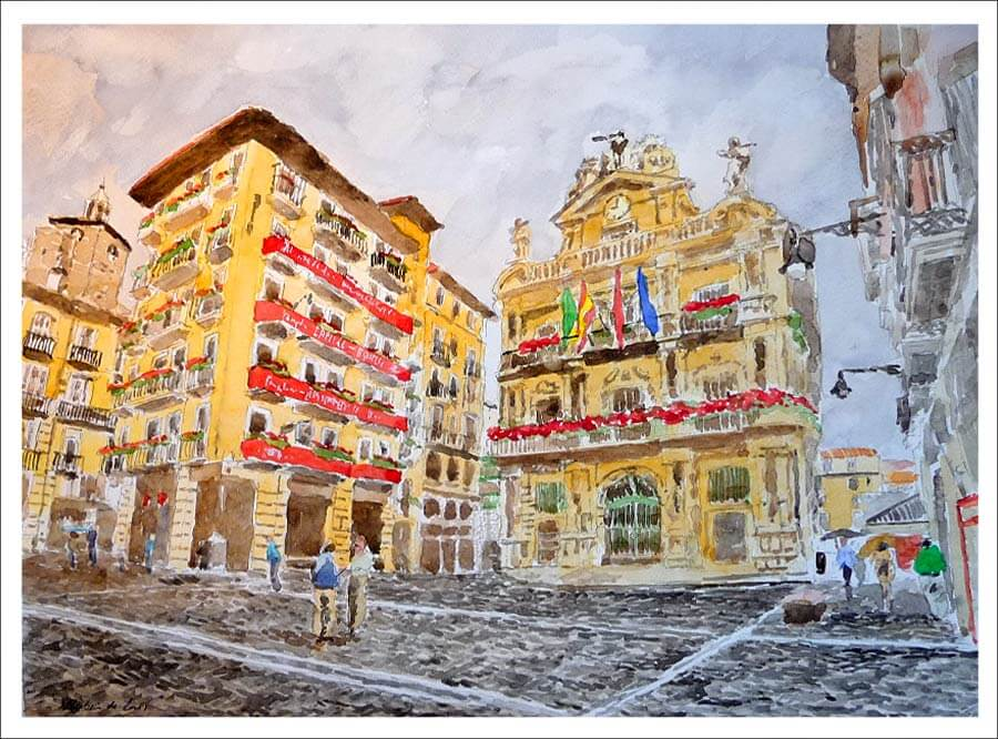 Acuarela del ayuntamiento de Pamplona