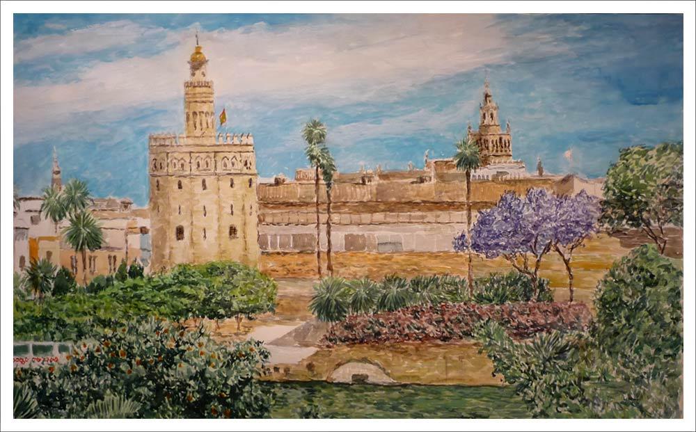 Cuadro en acuarela de la Torre del Oro en Sevilla