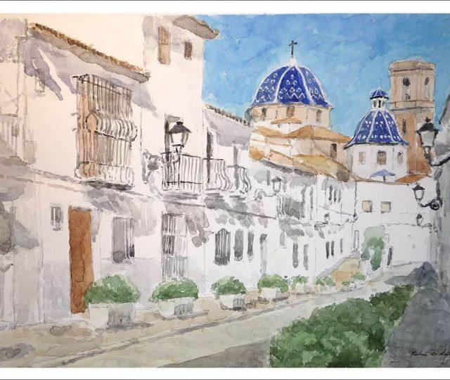 Cuadro en acuarela de Altea, Alicante.