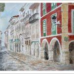 Acuarela de una calle de Avilés, Asturias.