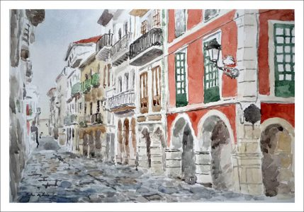 Cuadro de una calle de Avilés, Asturias.