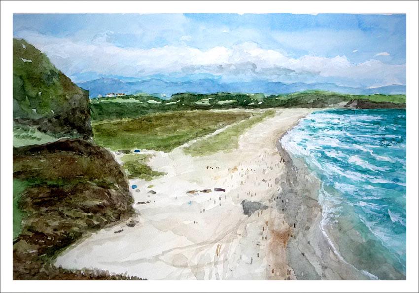 Cuadro de un paisaje de la playa de Xagó, Asturias.