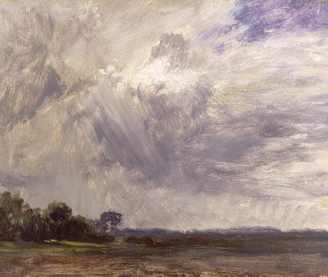 Estudio al oleo de un paisaje pintado por John Constable.