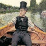 """""""Remero con sombrero de copa"""" (1878, Gustave Caillebotte. Oleo sobre lienzo."""