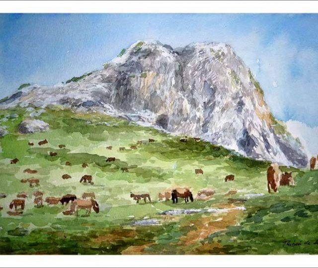 Cuadro en acuarela del monte Mugarra, Vizcaya.