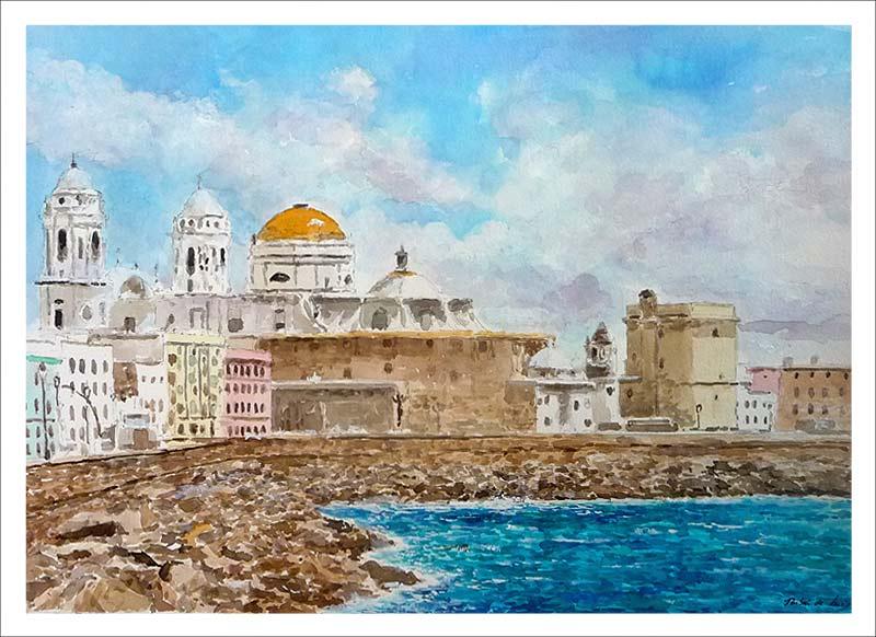 Cuadro de Cádiz en acuarela