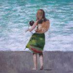 Cuadro de una mujer contemplando el mar con su hijo.