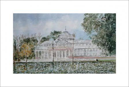 Cuadro en acuarela del Palacio de Cristal del Retiro, Madrid