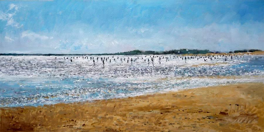 Playa de la Antilla, Huelva, cuadro al oleo.