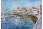 Cuadro en acuarela del puerto deportivo de Gijón