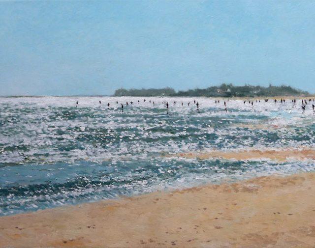 Cuadro al oleo de la playa de La Antilla en Huelva.