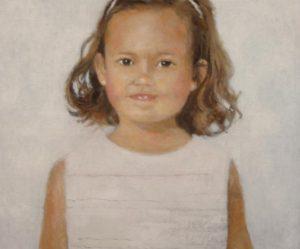 Retrato al oleo de una niña.