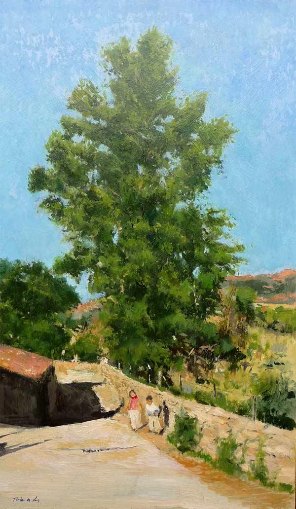El gran árbol al atardecer, oleo sobre panel