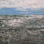 Cuadro de una marina del Mar Mediterráneo al oleo del con luz de mediodía.