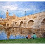 Acuarela de Salamanca desde el puente romano.