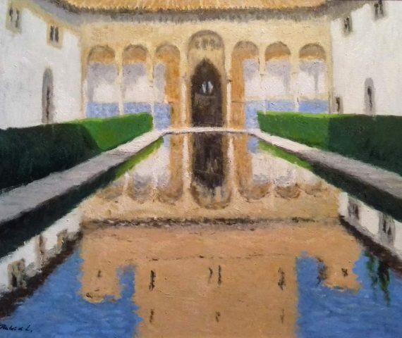 El Patio de los Arrayanes, la Alhambra de Granada, cuadro al oleo.