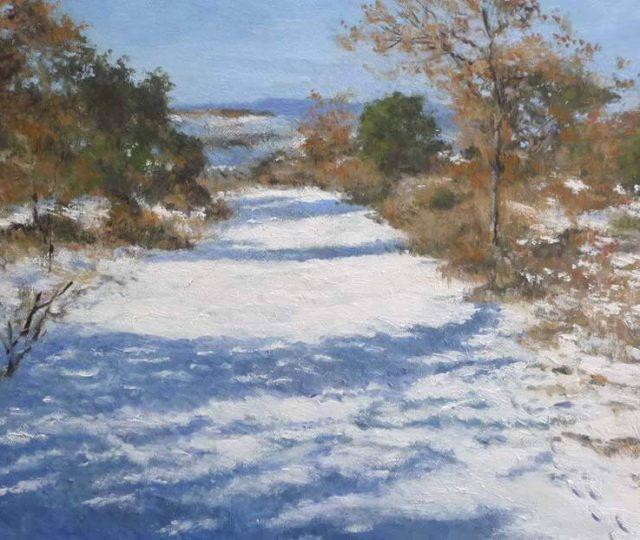 Cuadro al oleo de un paisaje nevado en la Alcarria, Guadalajara