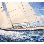 Marina en acuarela de un velero navegando