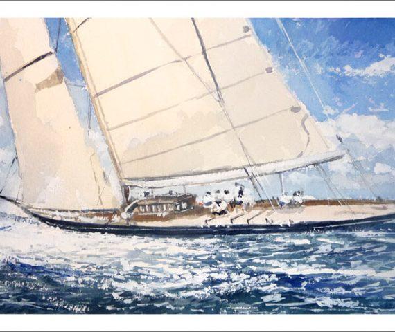 Cuadro de un velero en alta mar