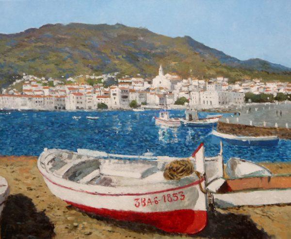 Cuadro al oleo de un paisaje de Cadaqués.