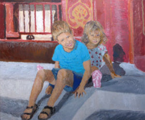 Retrato al oleo de una pareja de niños