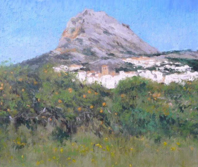 Cuadro de un paisaje de Jávea y el monte Montgó.
