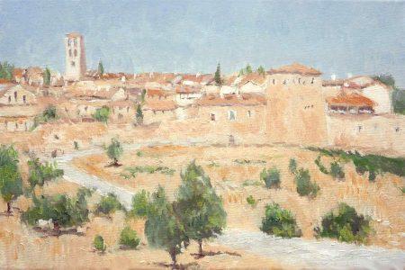 Oleo de un paisaje de Pedraza, Segovia