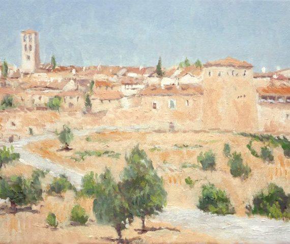 Cuadro al oleo de un paisaje de Pedraza de la Sierra, Segovia