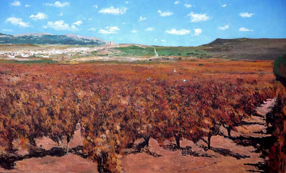 Cuadro de un viñedo en San Vicente de la Sonsierra, La Rioja