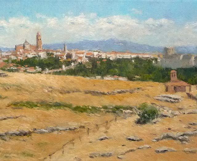 Cuadro al oleo de una vista de la ciudad de Segovia