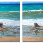 Diptico de una marina, escena de playa