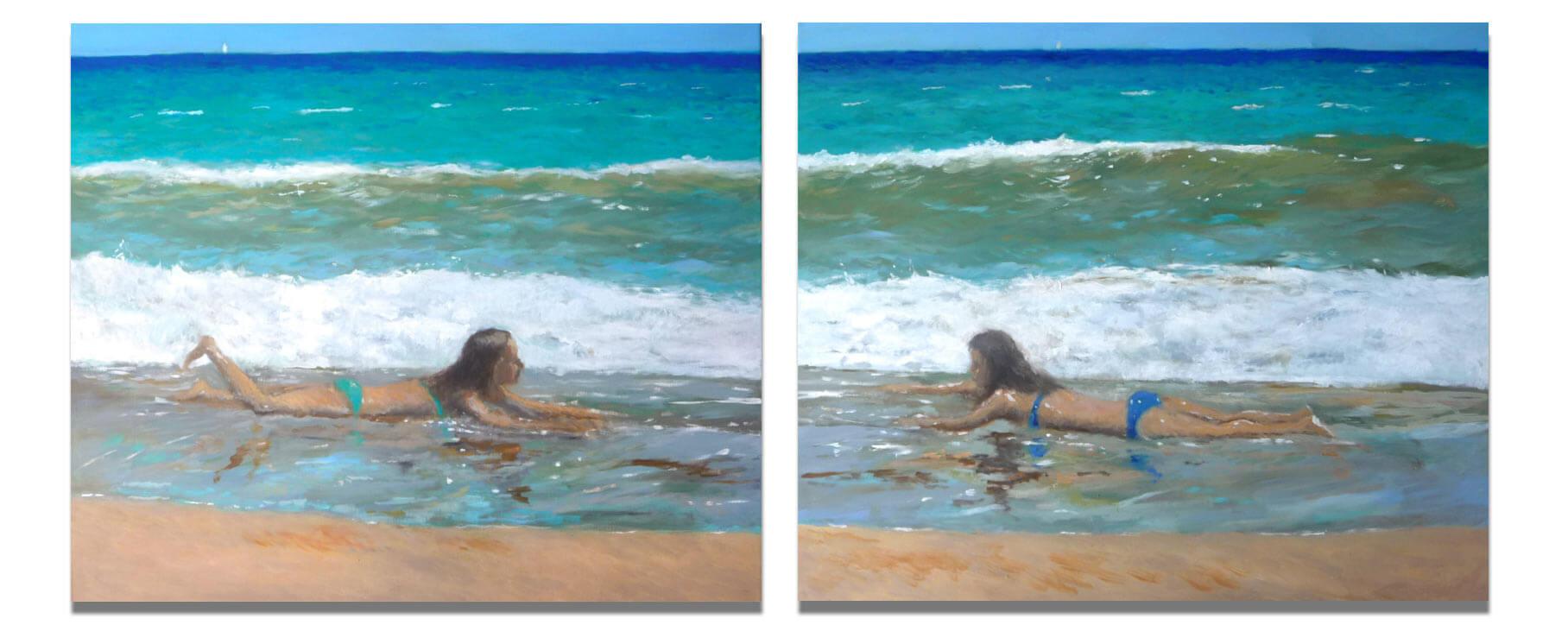 Diptico de dos cuadros al oleo de una escena de playa.