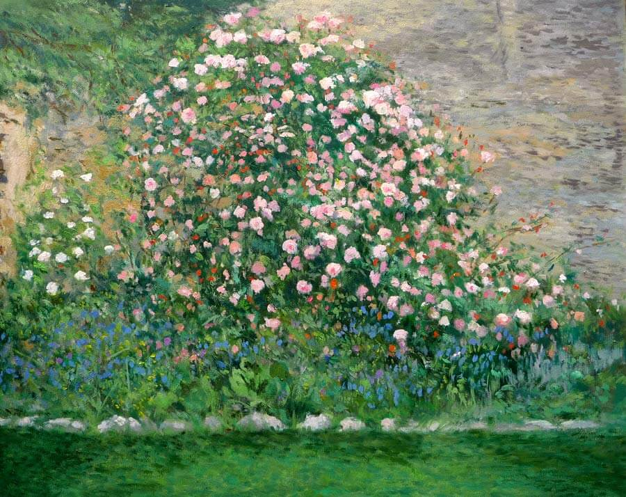 Cuadro al oleo de un rosal en un jardín.
