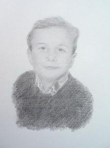 Retrato de Luis a lápiz de grafito sobre papel.