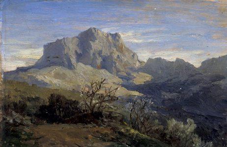 Cuadro al oleo de un paisaje de montaña de Carlos de Haes.