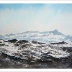 Cuadro de un paisaje nevado de los Picos de Europa
