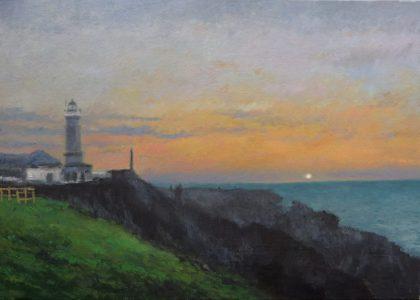 El crepúsculo en el faro del Cabo Mayor, Santander