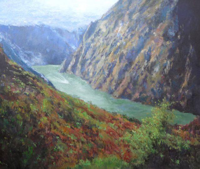 Cañon del río Sil, Lugo, cuadro al oleo